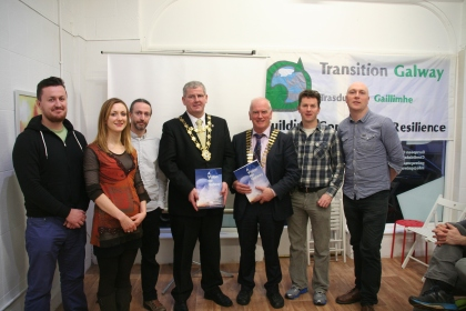 The launch on 28th Nov. 2015 - L to R: James Glynn, Mary Greene, Bernard McGlinchey, Mayor Cllr. Frank Fahy, Frank Greene (President, Galway Chamber of Commerce), Kieran Cunnane, Caoimhín Ó Maolallaigh